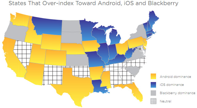 estudio divide por estado donde prefieren iPhone, android o blackberry