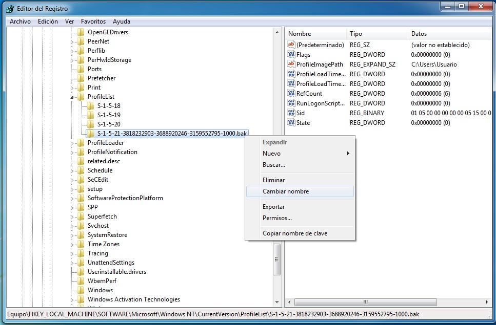 Resultado de imagen para eliminar usuario windows 7 regedit