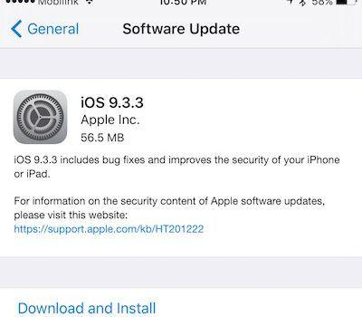 iOS 9.3.3 IPSW iPhone iPad