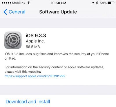 iOS 9.3.3 IPSW iPhone iPad