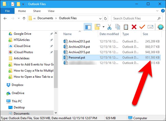 reducir archivo de datos de Outlook 2