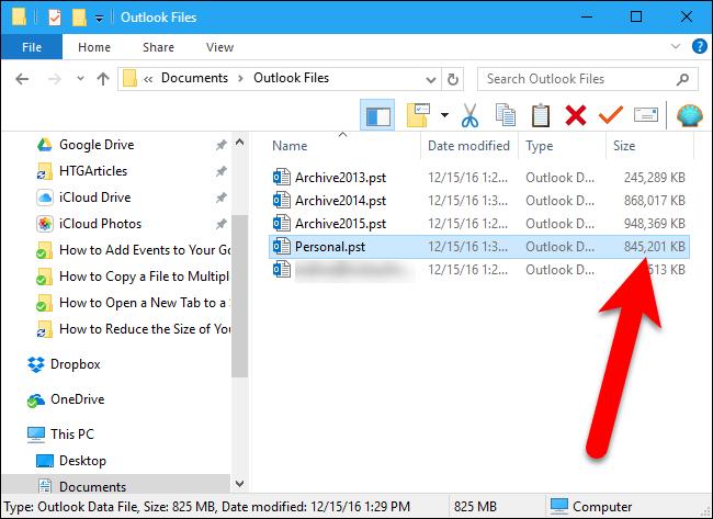 reducir archivo de datos de Outlook 20