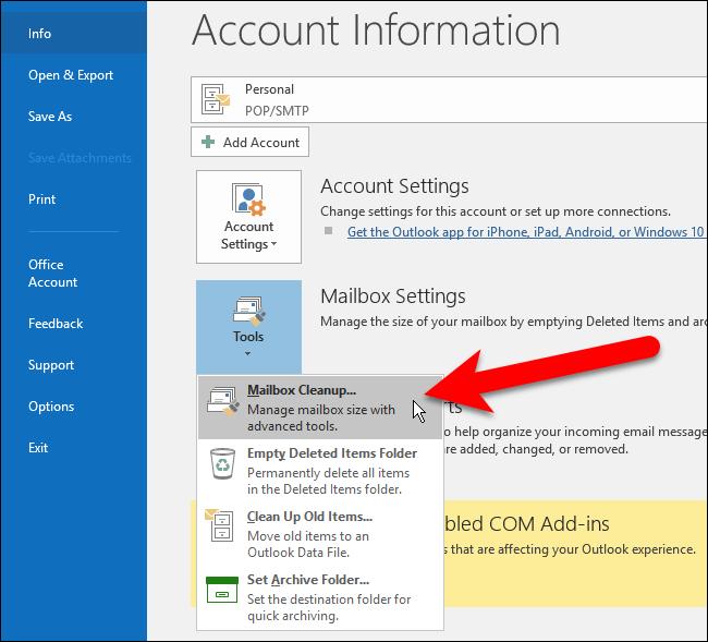 reducir archivo de datos de Outlook 4
