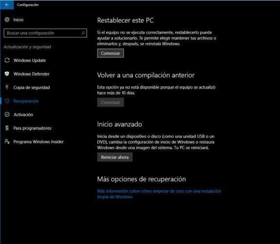 Microsoft Windows 10 Restaurar sistema