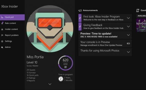 Centro Insider Xbox Windows 10