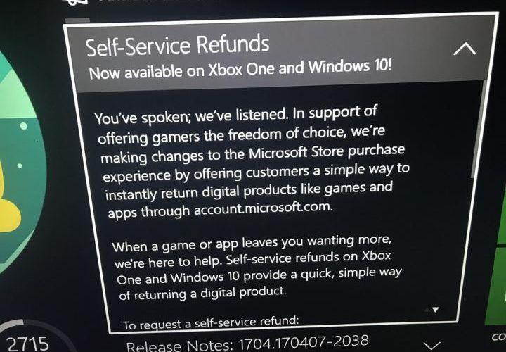 Xbox One reembolsos