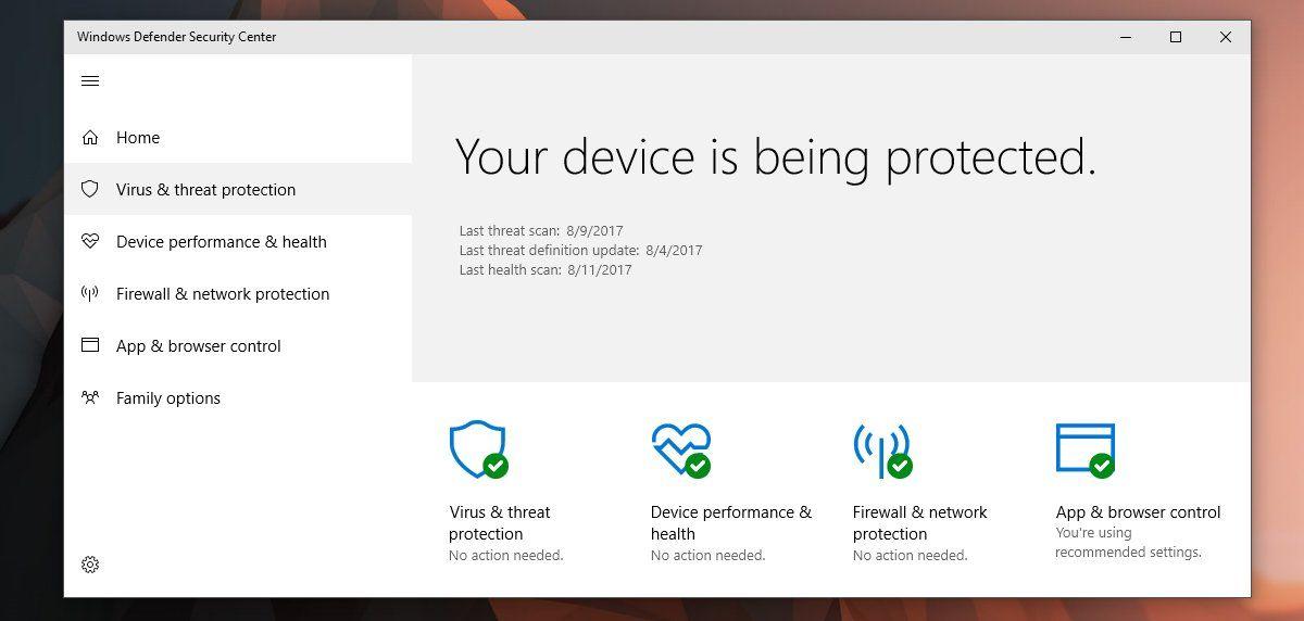 sumario de Windows Defender