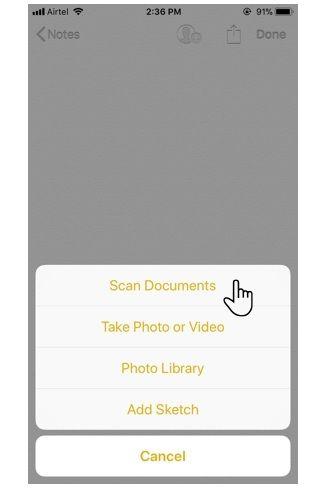escáner de documentos en iOS 11