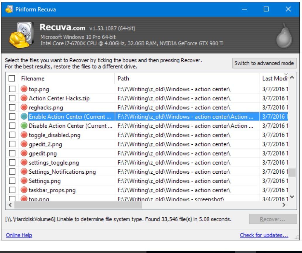 Restaurar archivos eliminados de la unidad de disco