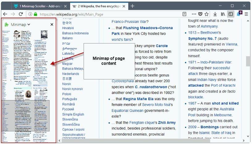 minimapa de desplazamiento en Firefox