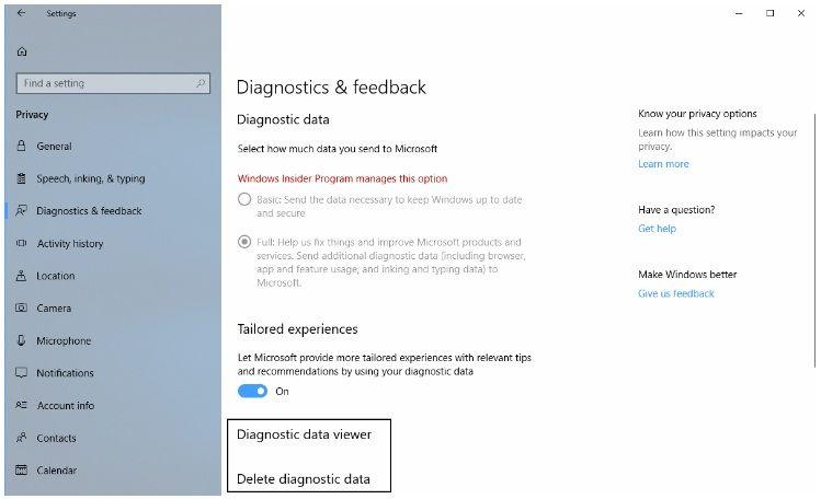 eliminar datos de diagnóstico en windows 10
