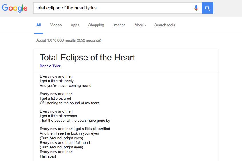 Google letras canciones