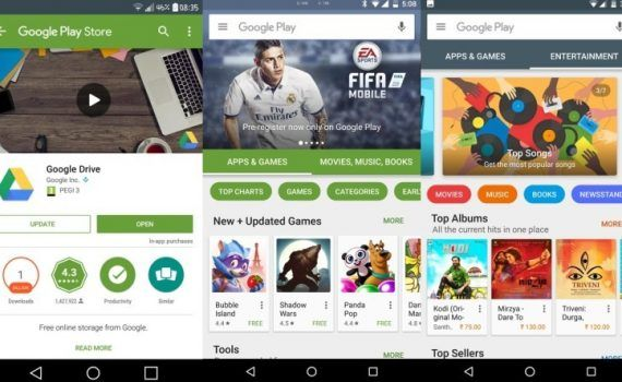 Google Play Store interfaz