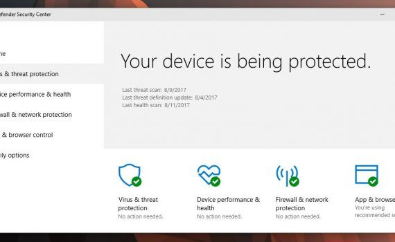 sumario de Windows Defender