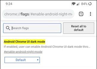 modo oscuro de Chrome