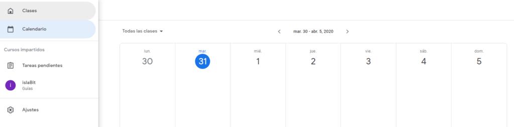 Google Classroom Calendario de trabajos