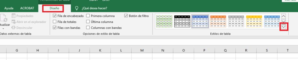 Seleccionar estilo de una tabla de Excel
