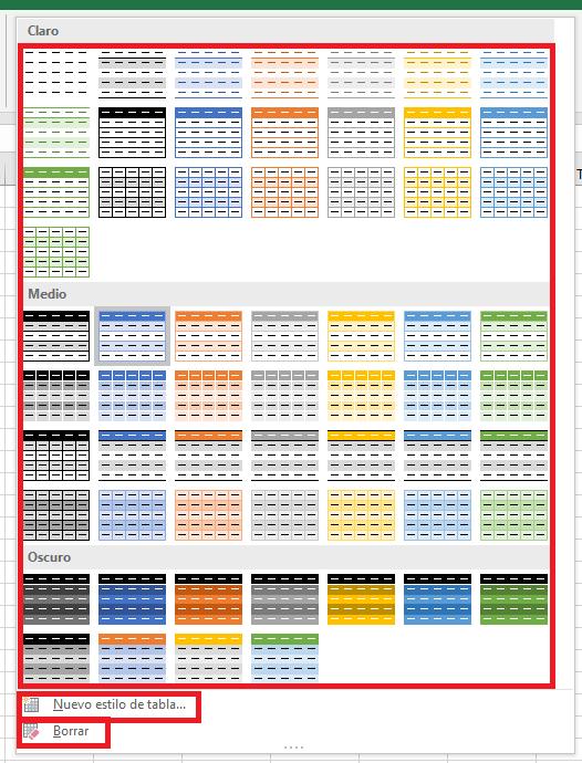 Seleccionar estilo de tabla de excel