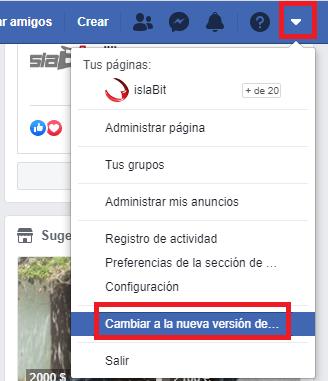 nueva interfaz de Facebook
