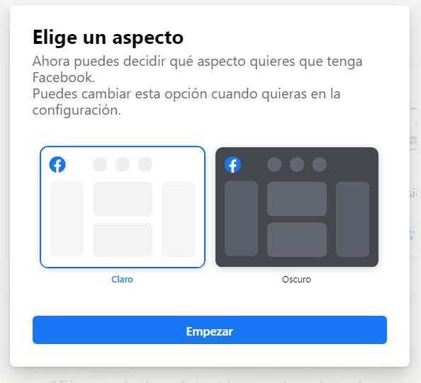 facebook modo claro u oscuro