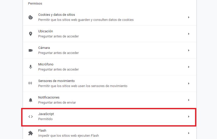 deshabilitar habilitar JavaScript Chrome
