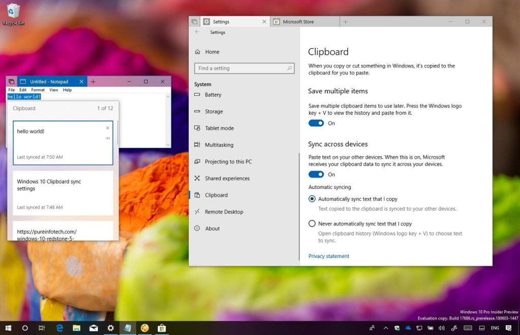 Limpiar historial portapapeles Windows 10 3