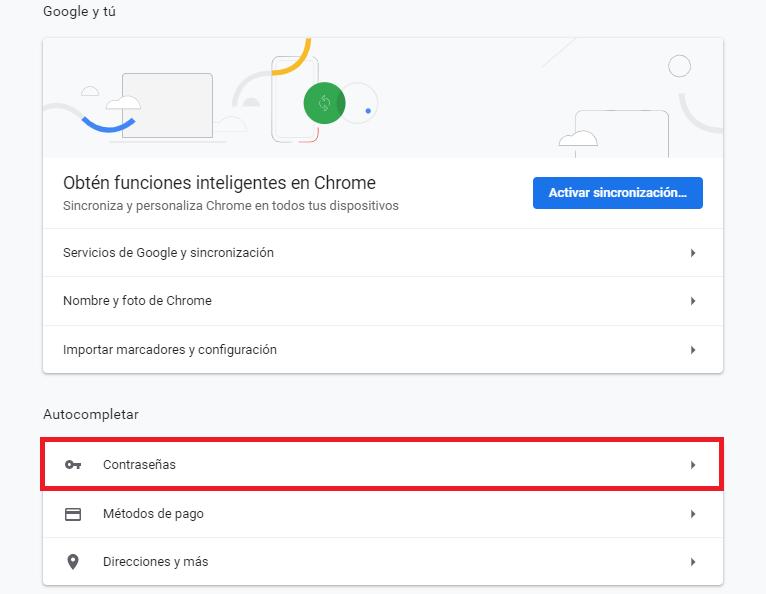google chrome contraseñas