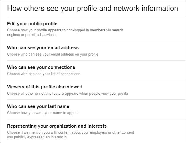 configuración privacidad linkedin
