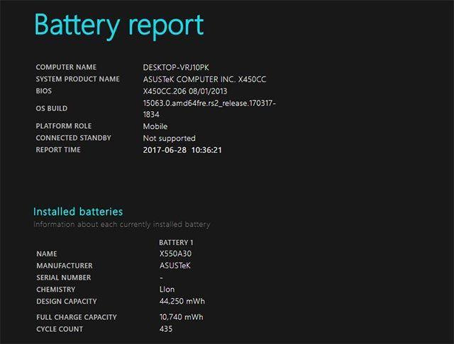 tabla uso batería