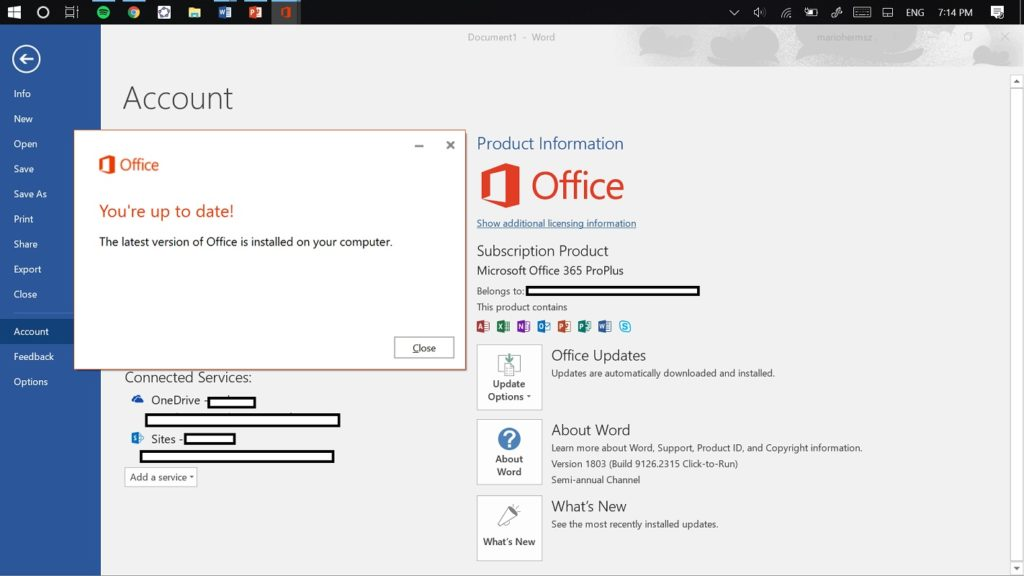 Actualizar apps Office 2