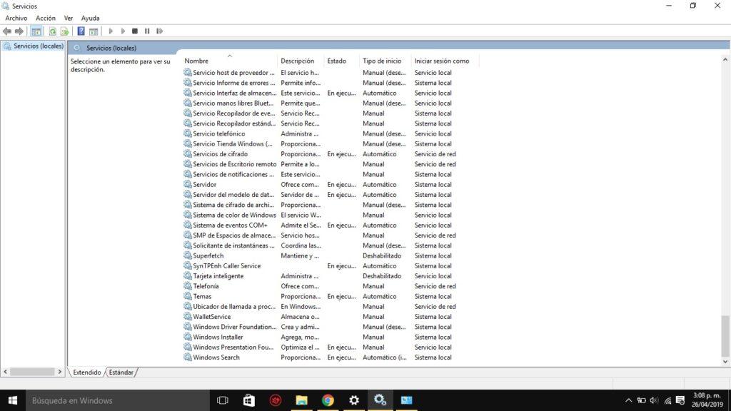 Servicio actualización Windows Services 2