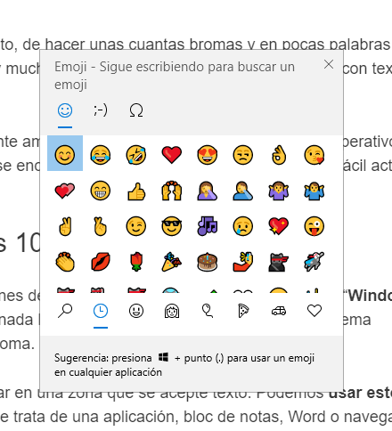 Cómo usar Emojis de Windows 10