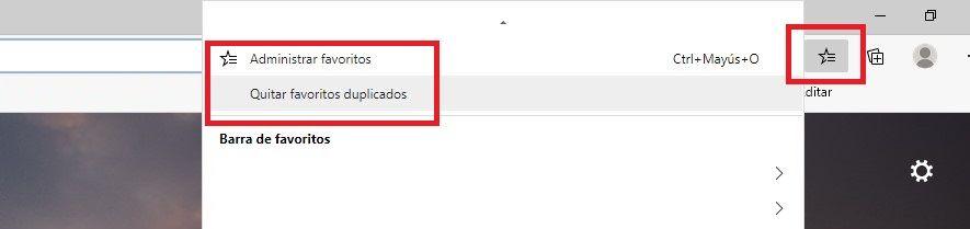 Cómo eliminar favoritos marcadores duplicados Microsoft Edge