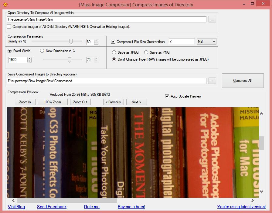 Aplicación para comprimir y optimizar imágenes por lotes en Windows 10