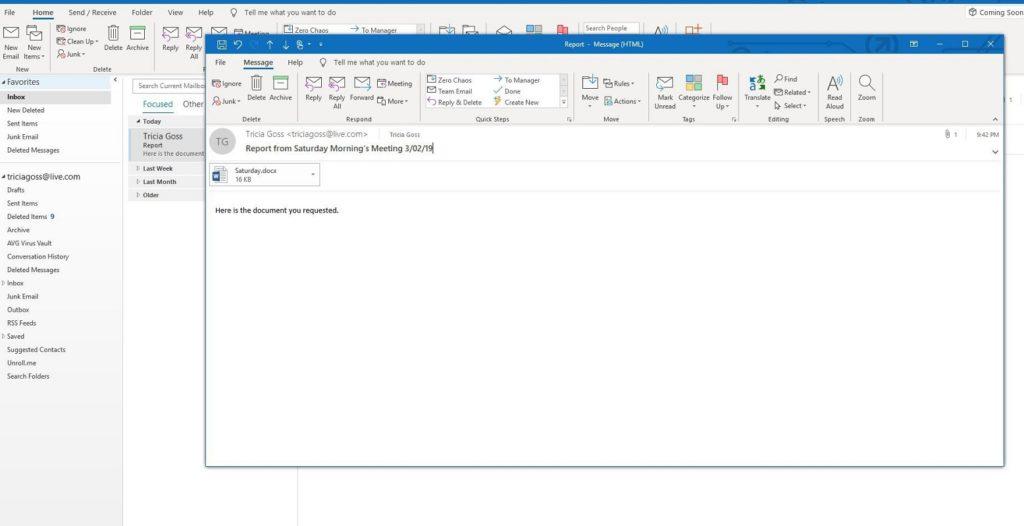 Editar correo recibido Outlook 2