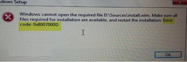 como solucionar error 0x8007000d Windows 10