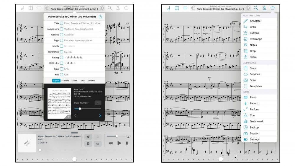 aplicación de partitura digital gratis para iOS y Android