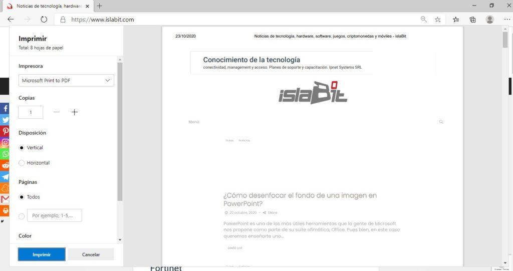 Solucionar problemas de impresión en Microsoft Edge