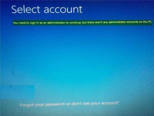 Windows no reconoce cuenta de administrador para iniciar sesión