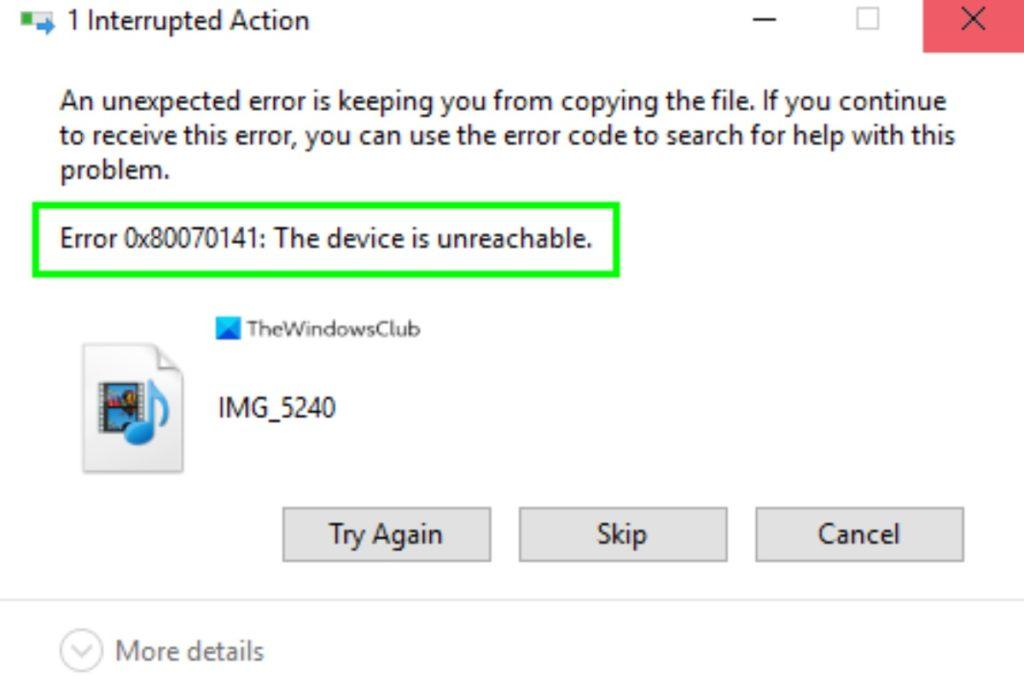 error 0x80070141 iOS Windows 2