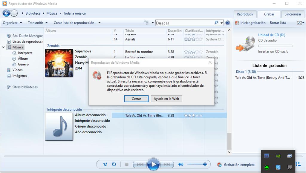 cómo solucionar error 0xc00d36c4 Windows Media Player