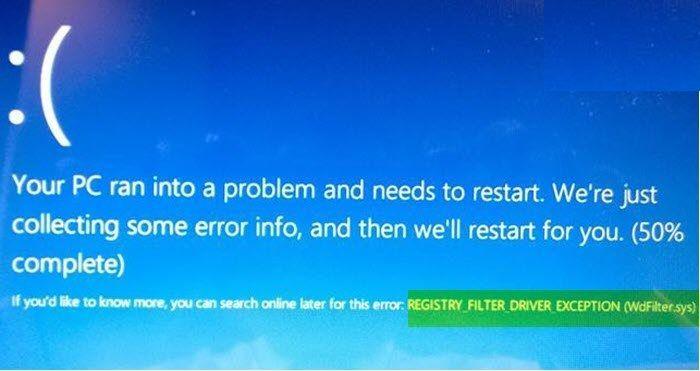 Cómo solucionar error WdFilter.sys en Windows 10