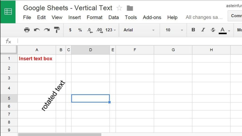 rotar texto Google Sheets 2