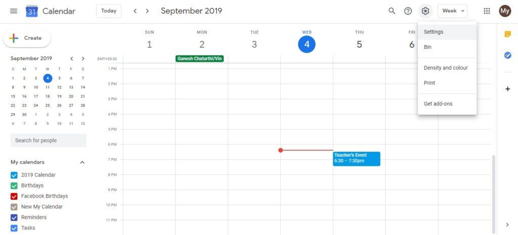 Diferentes zonas Calendar 2