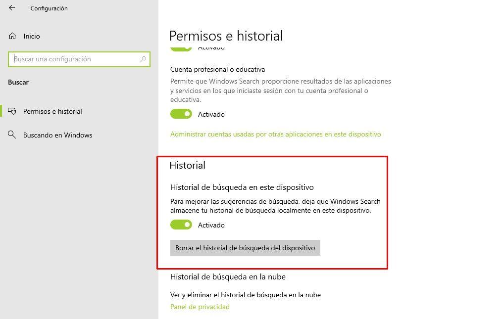 Eliminar historial de búsquedas y actividades recientes en Windows 10