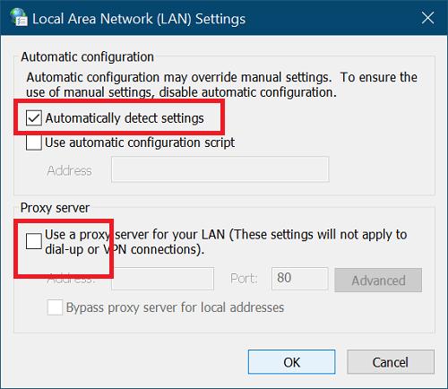 Deshabilitar el proxy de conexión a internet