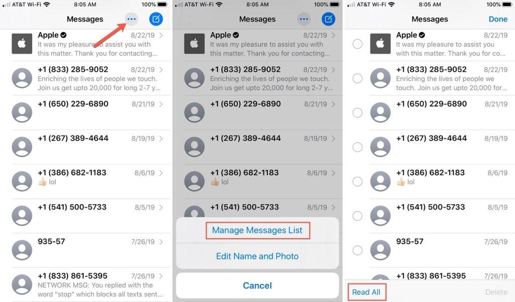 marcar mensajes leídos iOS 2