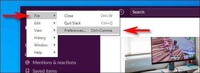 Abrir preferencias en Slack