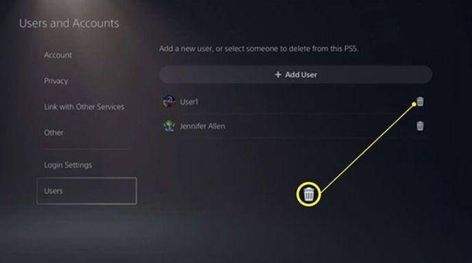 Borrar todas las cuentas de usuario de PS5