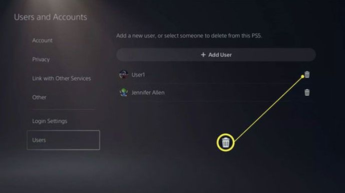 Delete all PS5 user accounts